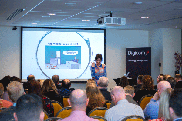 Peter Fox speaking at Digicom Workplace event on 18 Sept